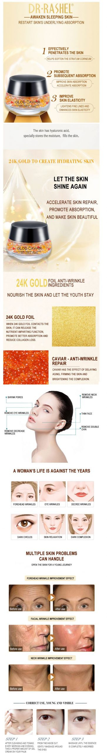 Gold Caviar Complex Anti-Wrinkle Luxury Regenerating Essence Gel Cream DRL-1453
